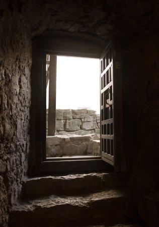 Door of of an old castle room