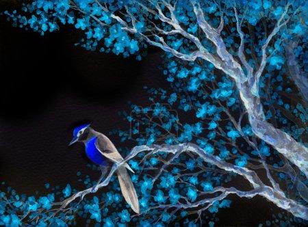 Photo pour Brillant coloré Aquarelle sur toile de fond de papier carte dans Japan style Sommaire avec un espace pour le texte sur le ciel noir. Nightingale élégant oriole passereaux sur vieux sprout d'yard luxuriant verger fleuri turquoise - image libre de droit