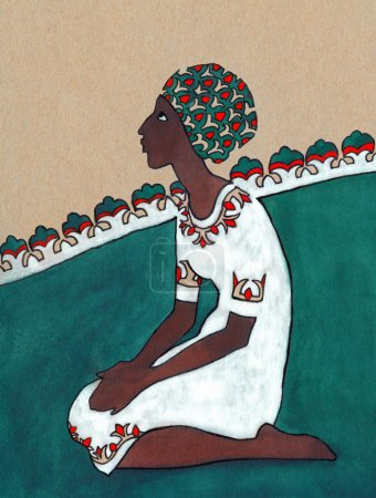 Stylized drawing. Negress sitting on her knees in white dress