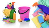 Various means for cleaning on white background