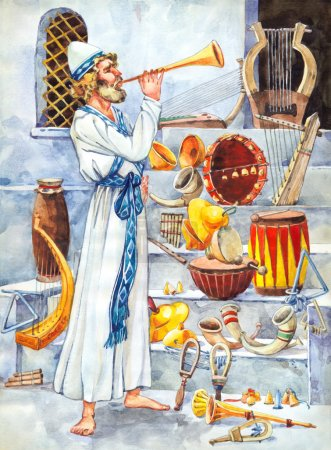"""Watercolor sketch of series """"Characters of Palestine"""". Leviticus"""