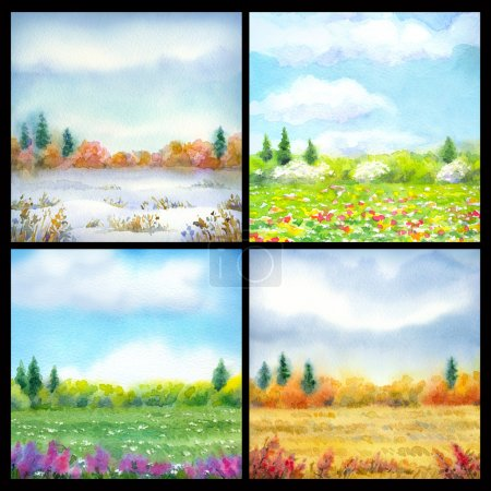 Steppe in different seasons. Watercolor landscape