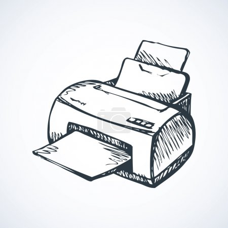 Illustration for Modern home digital quality multifunction pc color toner plotter isolated on white background. Freehand outline black pen drawn picture icon sketchy in scribble style. Closeup view with space for text - Royalty Free Image