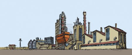 Illustration for Modern heavy technical catalyst powerhouse rig mainstay building. Environment pollute, ecology concept symbol. Doodle freehand color drawn background sketch in art retro style with space for text on sky - Royalty Free Image