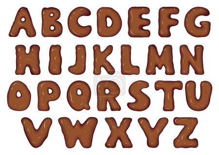Illustration pour Ensemble d'art abstrait stylisé caractères latins forme de fondre délicieux flux brillant lait cacao caramel noir choco fluide. Tarte effet cuisson design typographique. Vue rapprochée sur fond de lait blanc - image libre de droit
