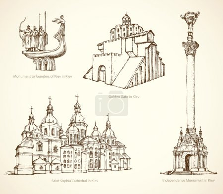Kiev famous historical monuments. Vector sketch