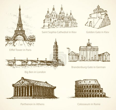 World famous historical monuments. Vector sketch