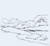 Mountain landscape with oak trees Vector drawing