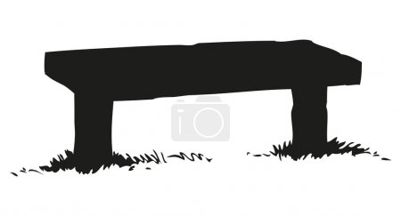 Old wooden bench. Vector drawing