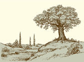 Scenic mount range cliff with old big oaktree on hilltop Freehand outline ink hand drawn picture sketch in art doodle retro style pen on paper Panoramic rural view and space for text on sky backdrop