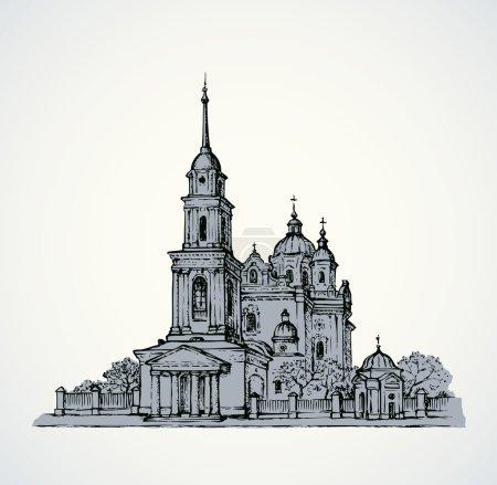 Dormition Cathedral, Poltava, Ukraine. Vector sketch