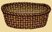 Vector monochrome picture Empty wicker basket