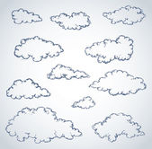 Vector freehand sketchy ink outline drawn backdrop in style of kid book engraving with place for text Collection of soft lush fluffy cumulus clouds