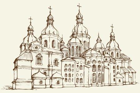 Vector Saint Sophia Cathedral in Kiev, Ukraine