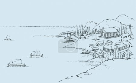 Rocky coast with ancient Greek buildings. Vector sketch