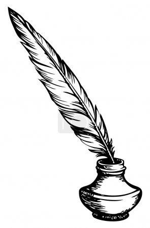 Illustration for Goose feather  in elegant old-fashioned decorative inkpot  isolated on white background with space for text. Vector monochrome freehand sketchy linear drawn picture in style of book engraving - Royalty Free Image