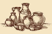 Clay pots of different sizes and shapes Vector sketch