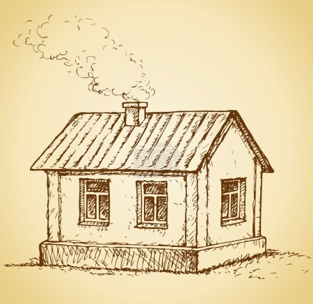 Cozy little house. Vector sketch