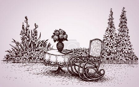 Illustration for Cozy corner patio home: flower bed with gladioli, hollyhock and rocker at round desk with patterned tablecloth. Vector monochrome freehand ink drawn backdrop in style pen on paper with space for text - Royalty Free Image