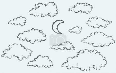 Illustration for Vector monochrome freehand sketchy ink outline drawn backdrop in kid scribble style pen on paper with space for text. Collection of cute soft lush fluffy cumulus clouds and beaming luna in evening sky - Royalty Free Image