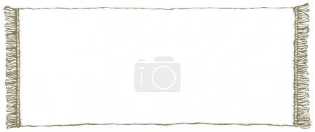 Illustration pour Cadre de pays symboliques abstraites : ancienne serviette propre rural blanche avec cannetille pourtour. Décor à main levée d'encre tirée Vector sketch dans le style de l'antiquité scribble de plume sur le papier avec un espace pour le texte - image libre de droit