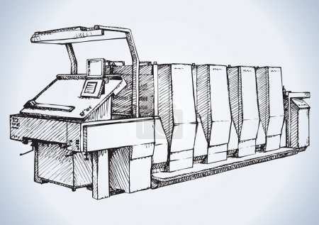 Modern printing press.Vector sketch
