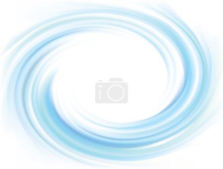 Illustration pour Vecteur merveilleuse toile de fond tourbillonnante avec espace pour le texte. Belle surface fluide volute couleur turquoise vif avec un centre blanc éclatant au milieu de funne - image libre de droit