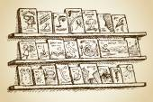 Racks with rows of variety books of tale story fiction dictionary exhibited for sale with space for text Vector freehand ink drawn background sketchy in ancient art scribble style pen on paper
