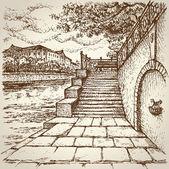 Old City Quay Vector landscape