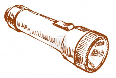 Illustration for Small cute old pocket torch with battery with switch isolated on white background. Vector linear freehand ink drawn backdrop sketchy in art scrawl style pen on paper. View close-up with space for text - Royalty Free Image