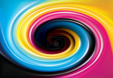 Vector swirl background of primary colors printing process (CMYK