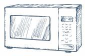Microwave oven Vector Sketch