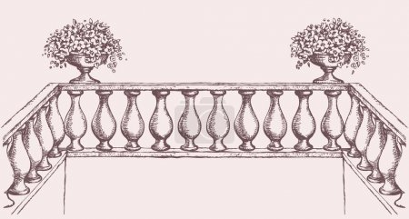 Balustrade with flowers in vase. Vector drawing
