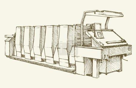Imprimerie moderne. Croquis de vecteur