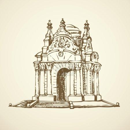 Luxury vintage gazebo. Vector drawing