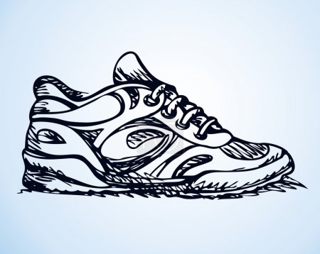 Trendy fancy sneakers. Vector sketch