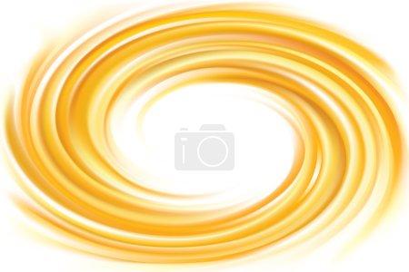 Illustration pour Vecteur lumière ocre tourbillon ondulation toile de fond avec de l'espace pour le texte. Belle surface fluide de boucle couleur ambrée chaude brillante. Cercle mélange de carotte douce fraîche pure, abricot, sirop de dessert au citron comme caramel tourbillon - image libre de droit