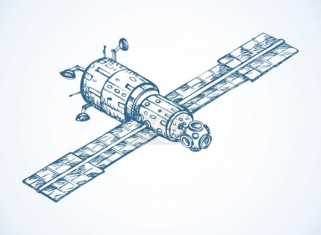Satellite with dish antenna. Vector doodle sketch