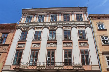 Building with signs of the zodiac stucco, Lviv, Ukraine
