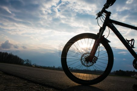 Mountain biker doing tricks. Mountain Bike cyclist riding single track at sunrise healthy lifestyle active athlete doing sport