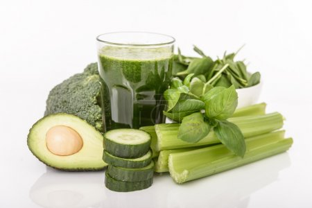 Photo for Healthy smoothie from green vegetables - Royalty Free Image