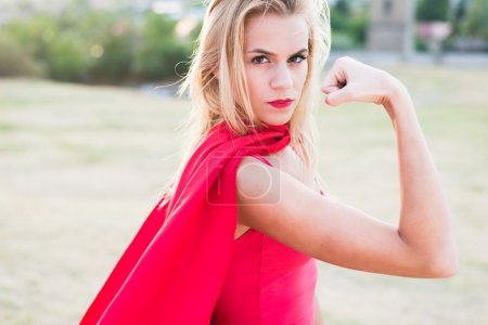 Young woman   as superhero or wonderwoman