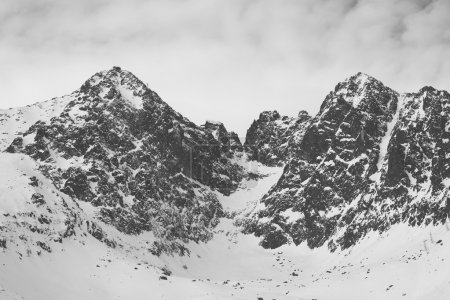 Photo for Vintage black and white photo os snow covered mountains - Royalty Free Image