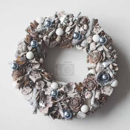 Photo for Handmade DIY Advent wreath over white wooden background - Royalty Free Image
