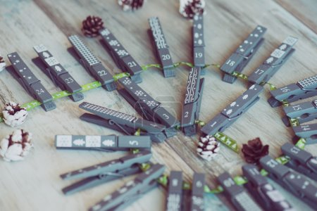 Decorated clothespin counting till 24th of december