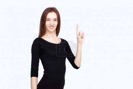 portrait happy woman in black dress