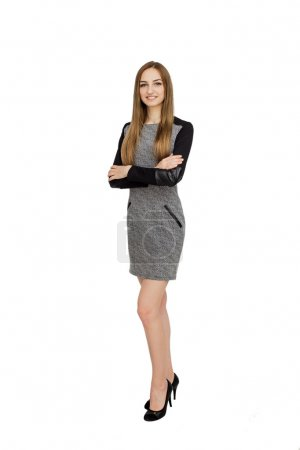 Photo for Portrait of successful businesswoman with crossed hands - Royalty Free Image