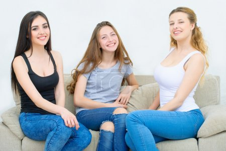 Portrait of three happy pretty young women at home...