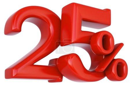 25 red percent discount symbol.