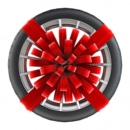tire wrapped in red gift ribbon